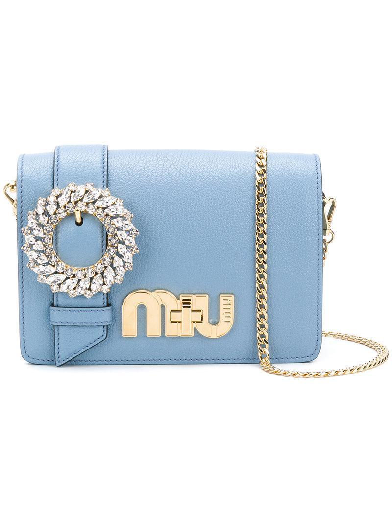 Miu Miu Leather My Miu Shoulder Bag In Blue Lyst