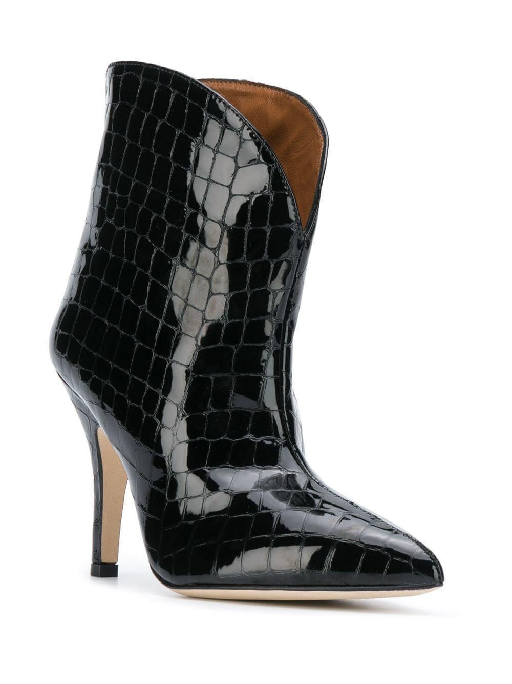 Botines con efecto de piel de cocodrilo Paris Texas de Cuero de color Negro