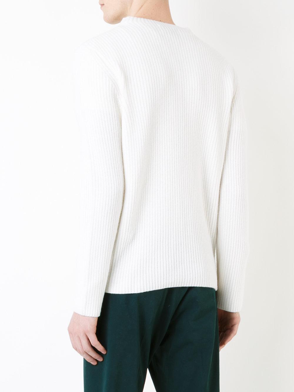 Kent & Curwen Cashmere Ribbed Knit Jumper in White for Men