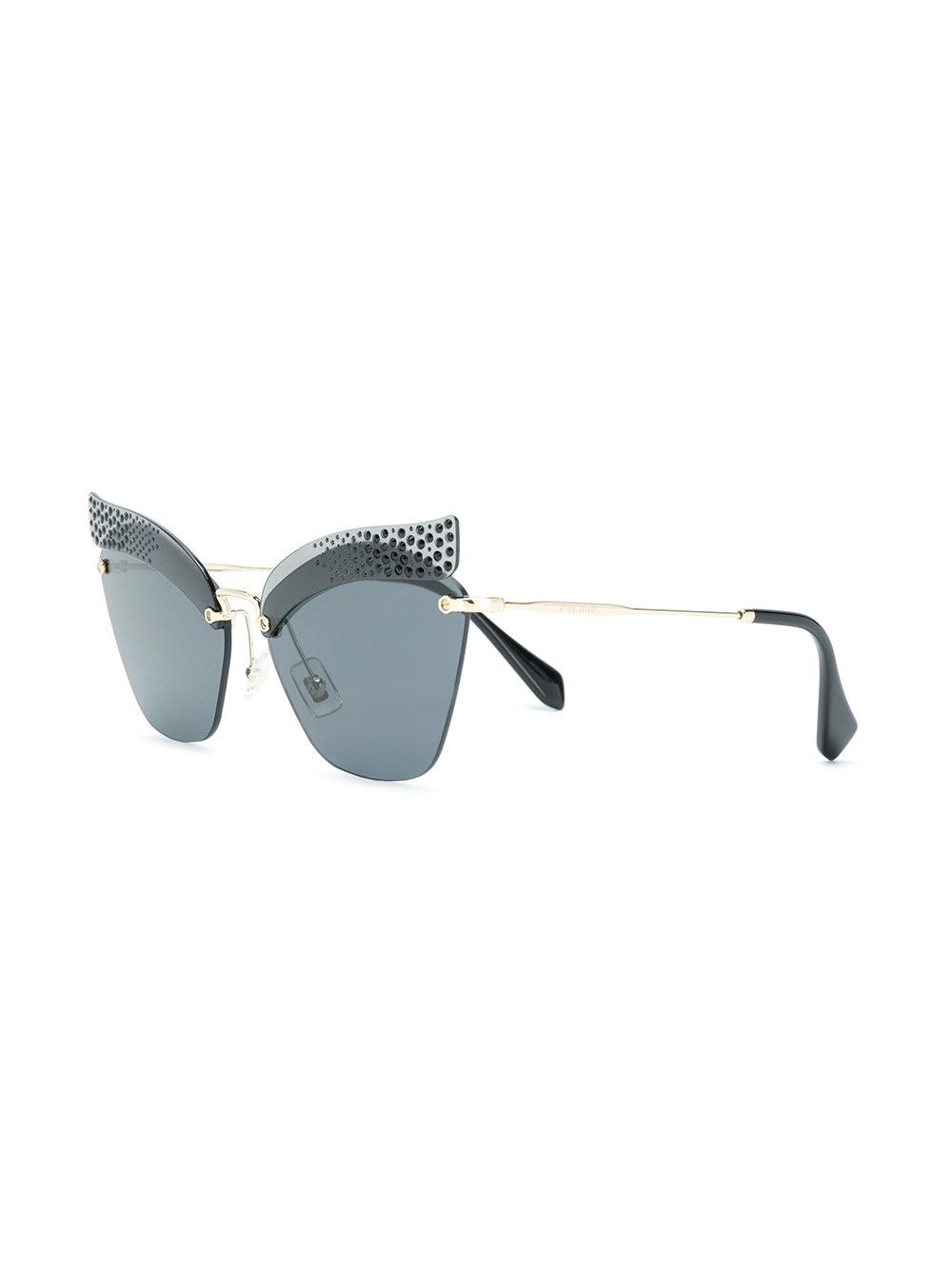 ecf4c1a30ac Miu Miu Embellished Cat Eye Sunglasses in Black - Lyst