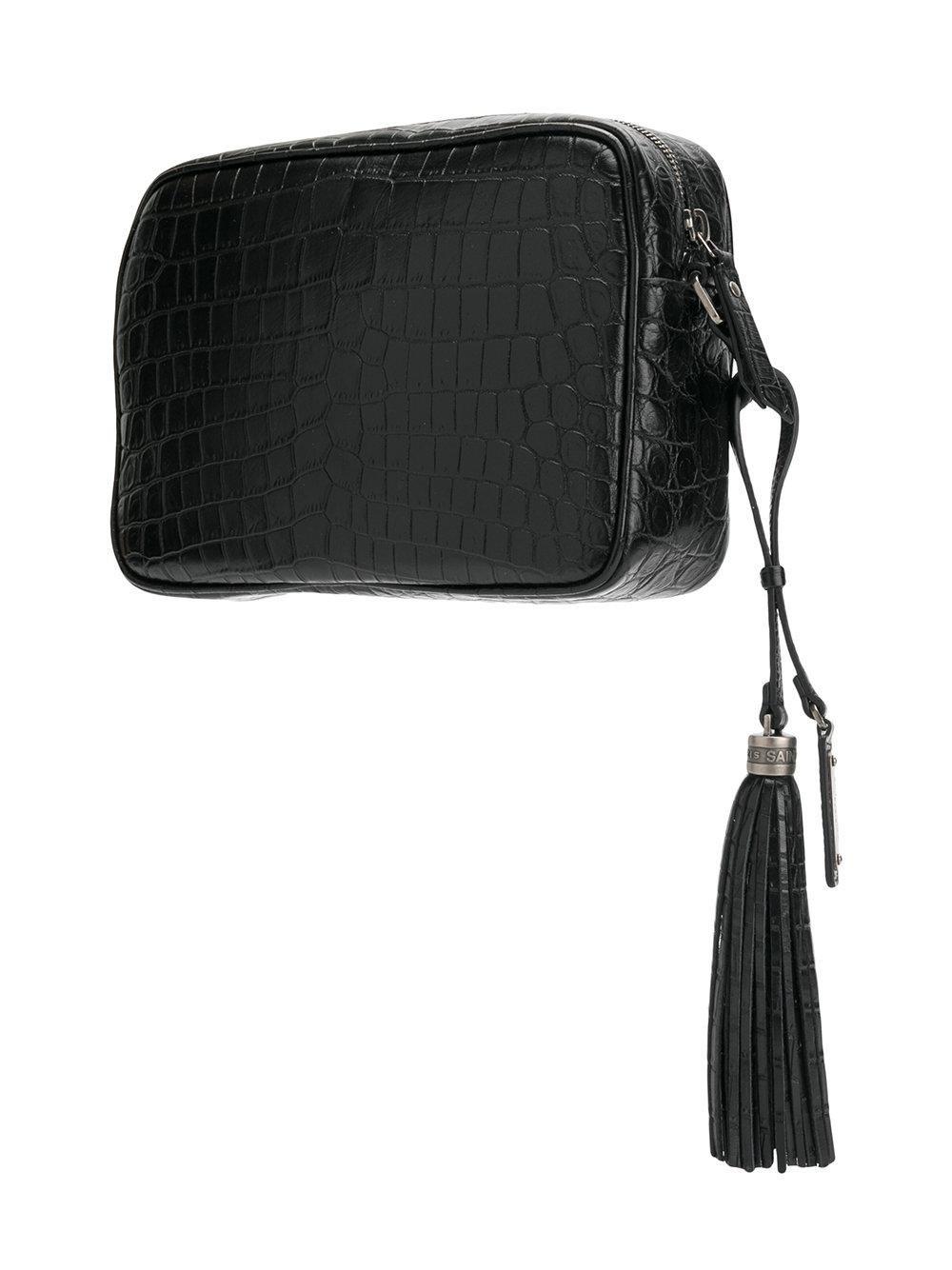 aef6edac60 Women's Black Crocodile Embossed Lou Camera Bag