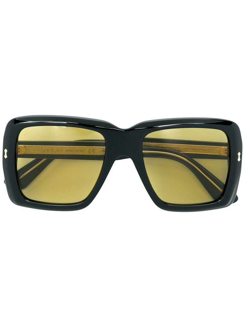 d4c71687a54 Lyst - Gucci Rectangular Frame Sunglasses in Black