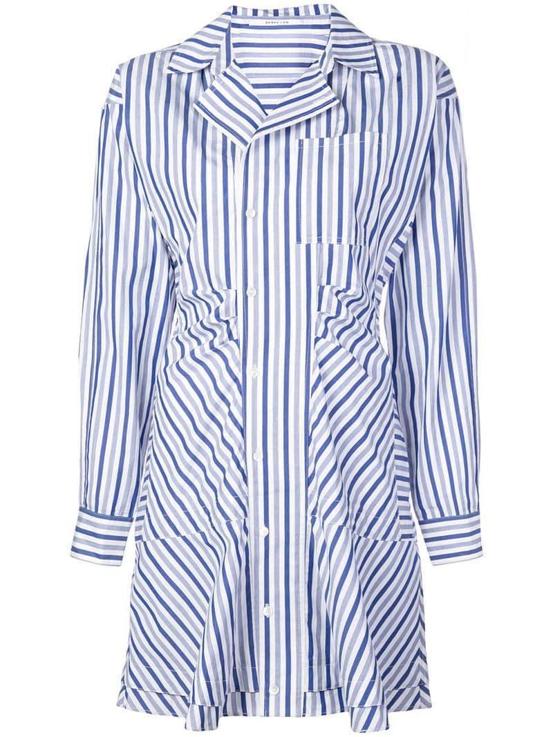 a770aeeac2ac9c Lyst - 10 Crosby Derek Lam Long Sleeve Ruffle Placket Shirtdress in Blue