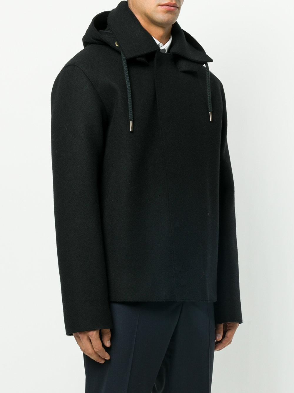 lyst jil sander hooded jacket in black for men. Black Bedroom Furniture Sets. Home Design Ideas