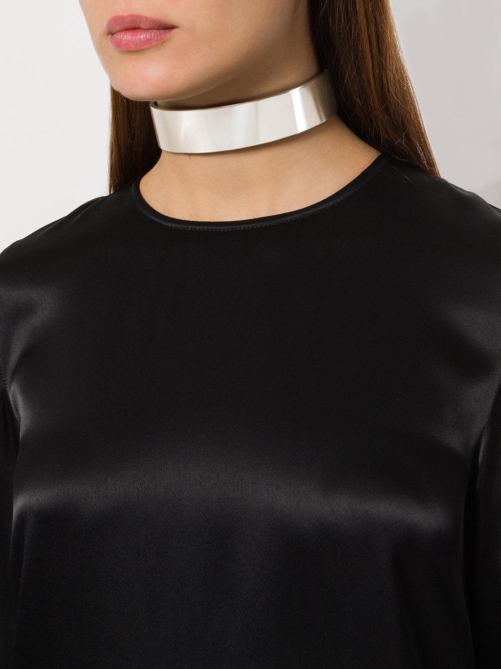 Maison Margiela Leather Metallic Choker Necklace