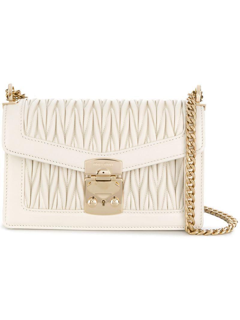 Lyst - Miu Miu Quilted Shoulder Bag in White dc267e41095ca