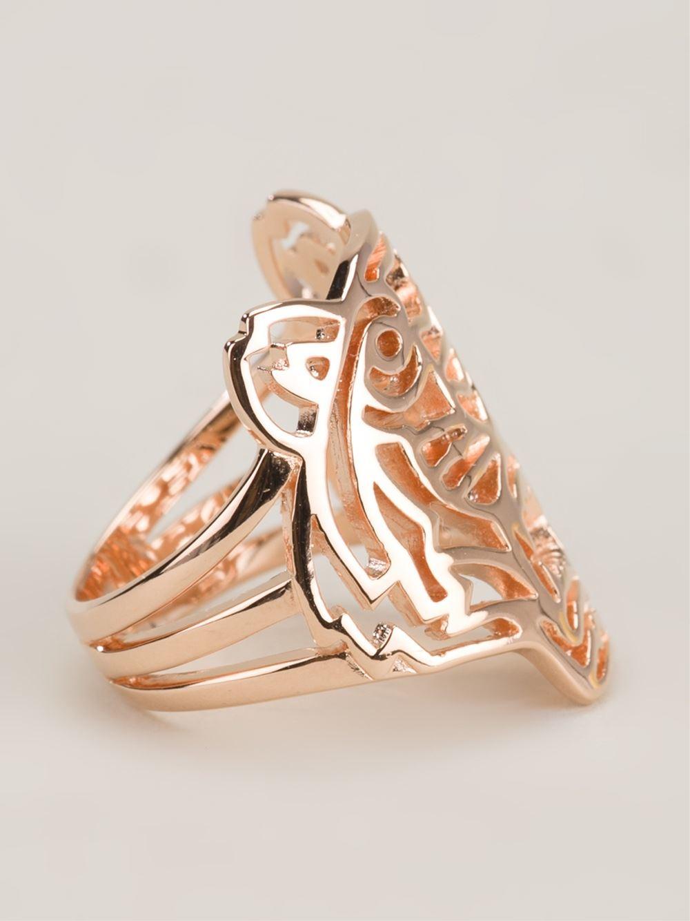 Kenzo Tiger Ring In Metallic Lyst