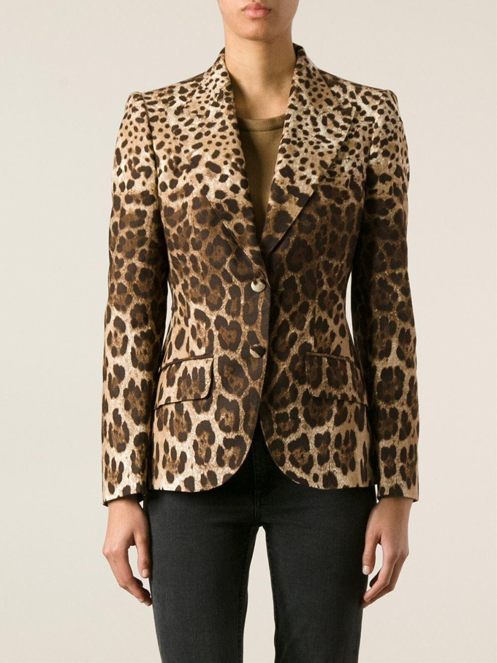 Dolce & Gabbana Cotton Leopard Print Blazer in Black - Lyst