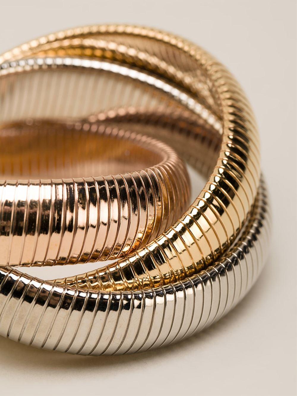 Lyst Janis Savitt Triple Cobra Bracelet In Metallic