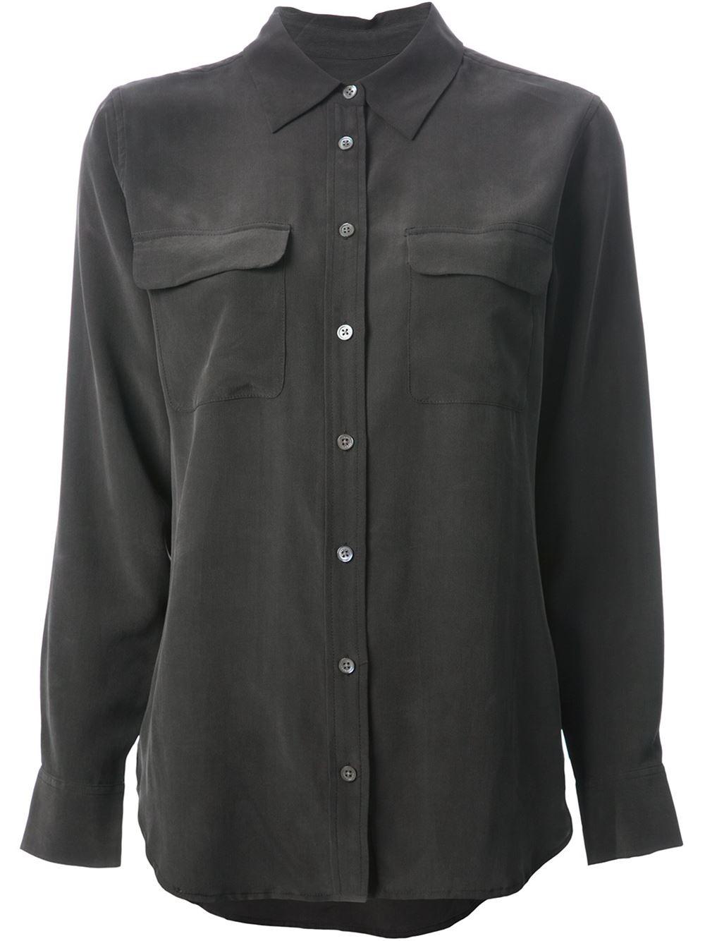 Lyst equipment silk shirt women silk l in black for Equipment black silk shirt