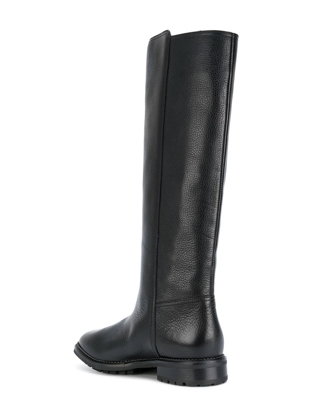 L'Autre Chose Leather Tall Flat Boots in Black
