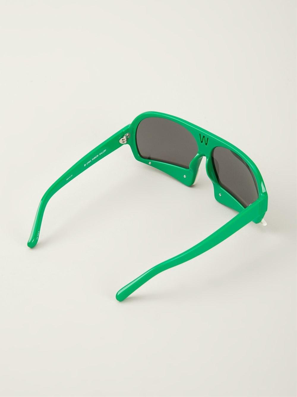 Linda Farrow 'walter Van Beirendonck 7' Sunglasses in Green