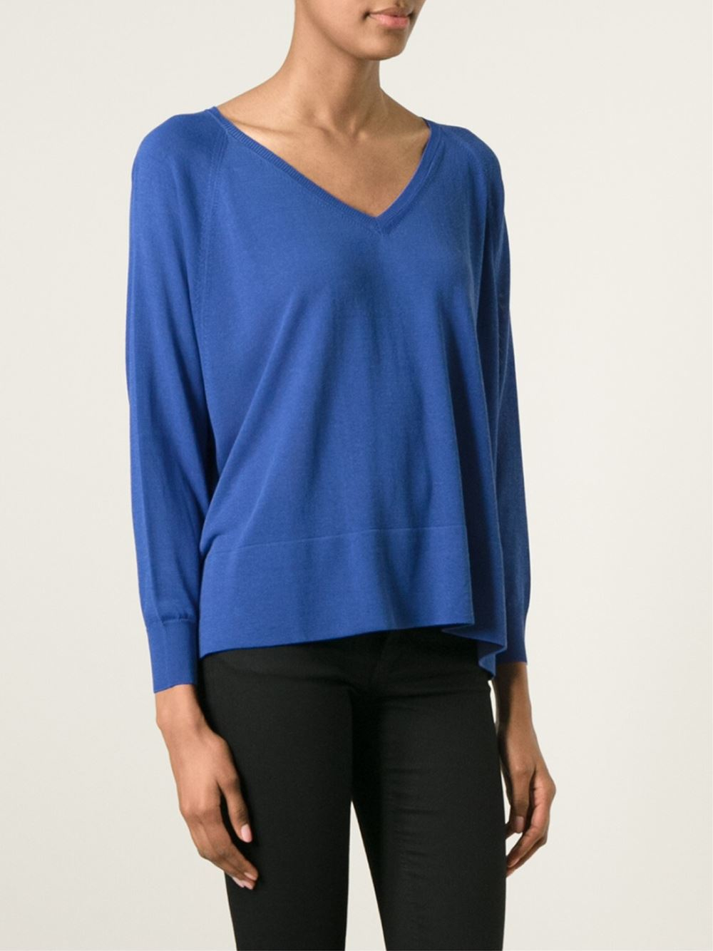 lyst moncler cropped boxy sweater in blue. Black Bedroom Furniture Sets. Home Design Ideas