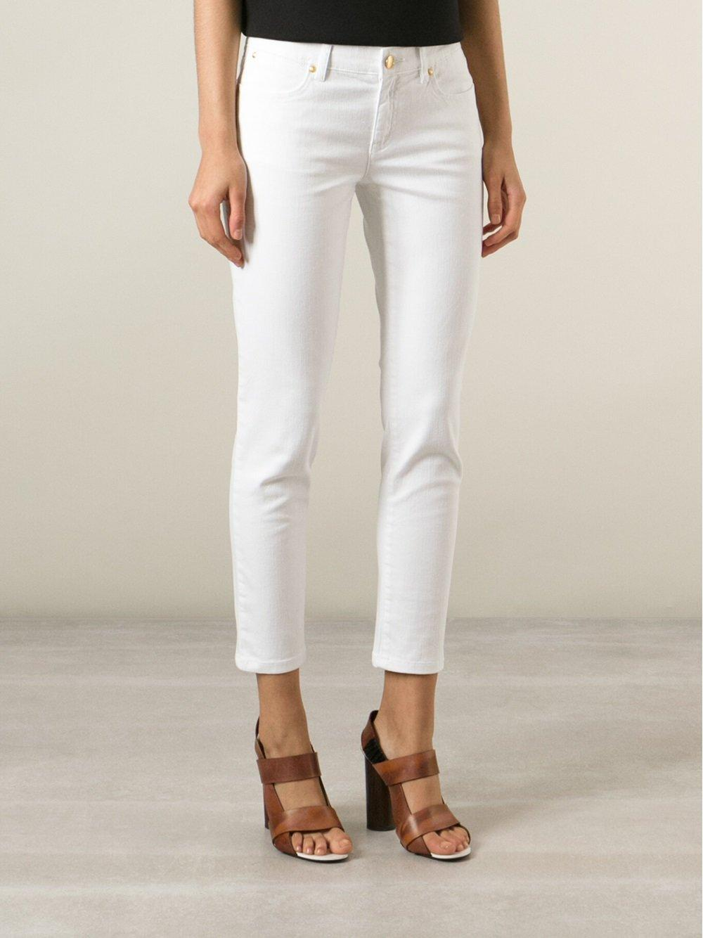 Michael Michael Kors Cropped Jeans In White Lyst