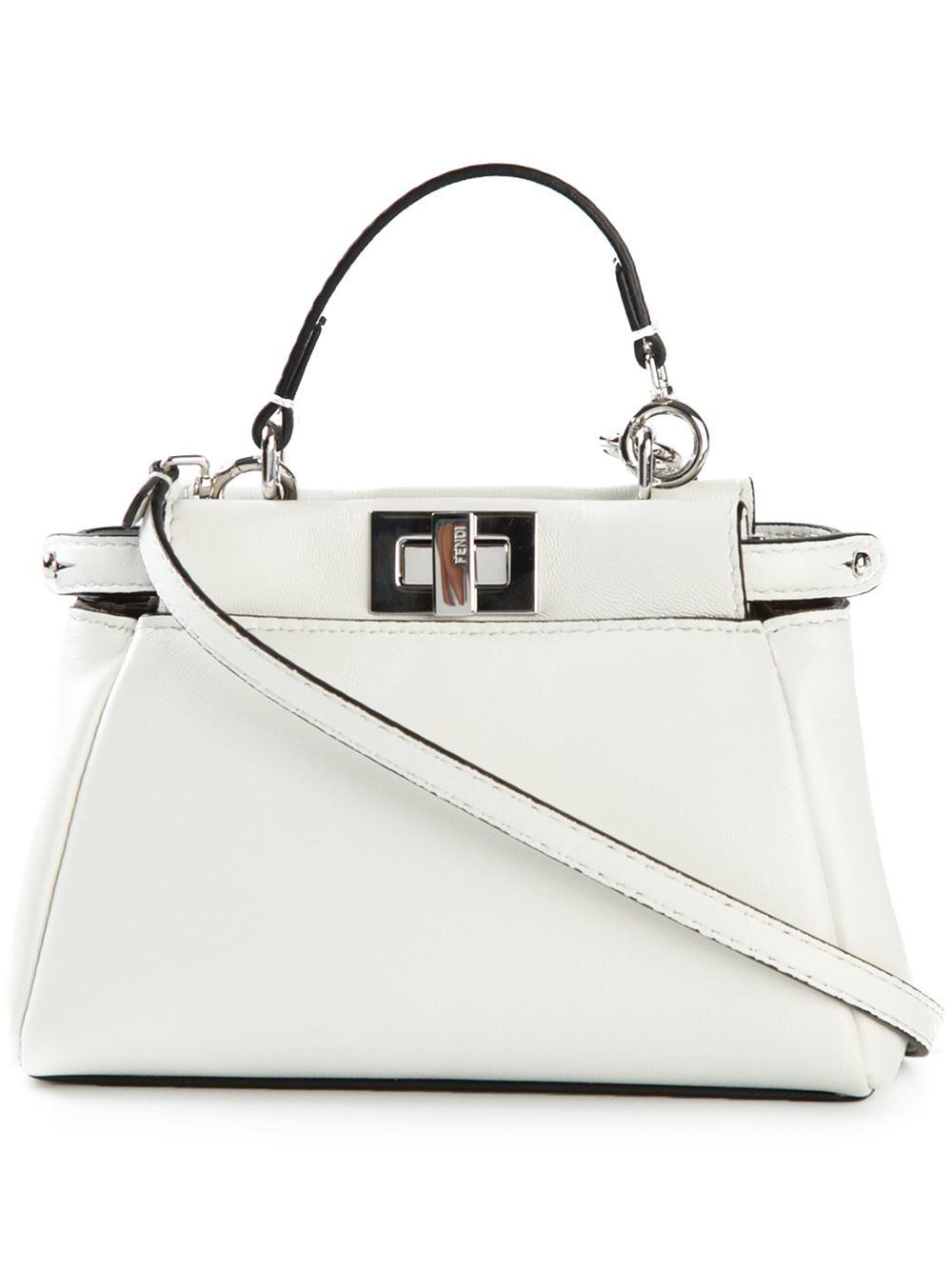 5593fed53d Lyst - Fendi Micro  peekaboo  Crossbody Bag in White