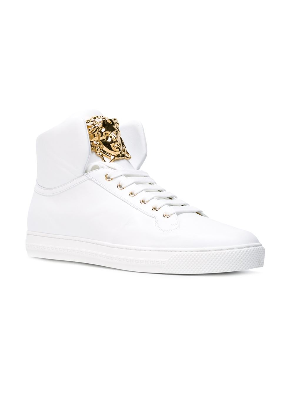 White Leather High Top Shoes