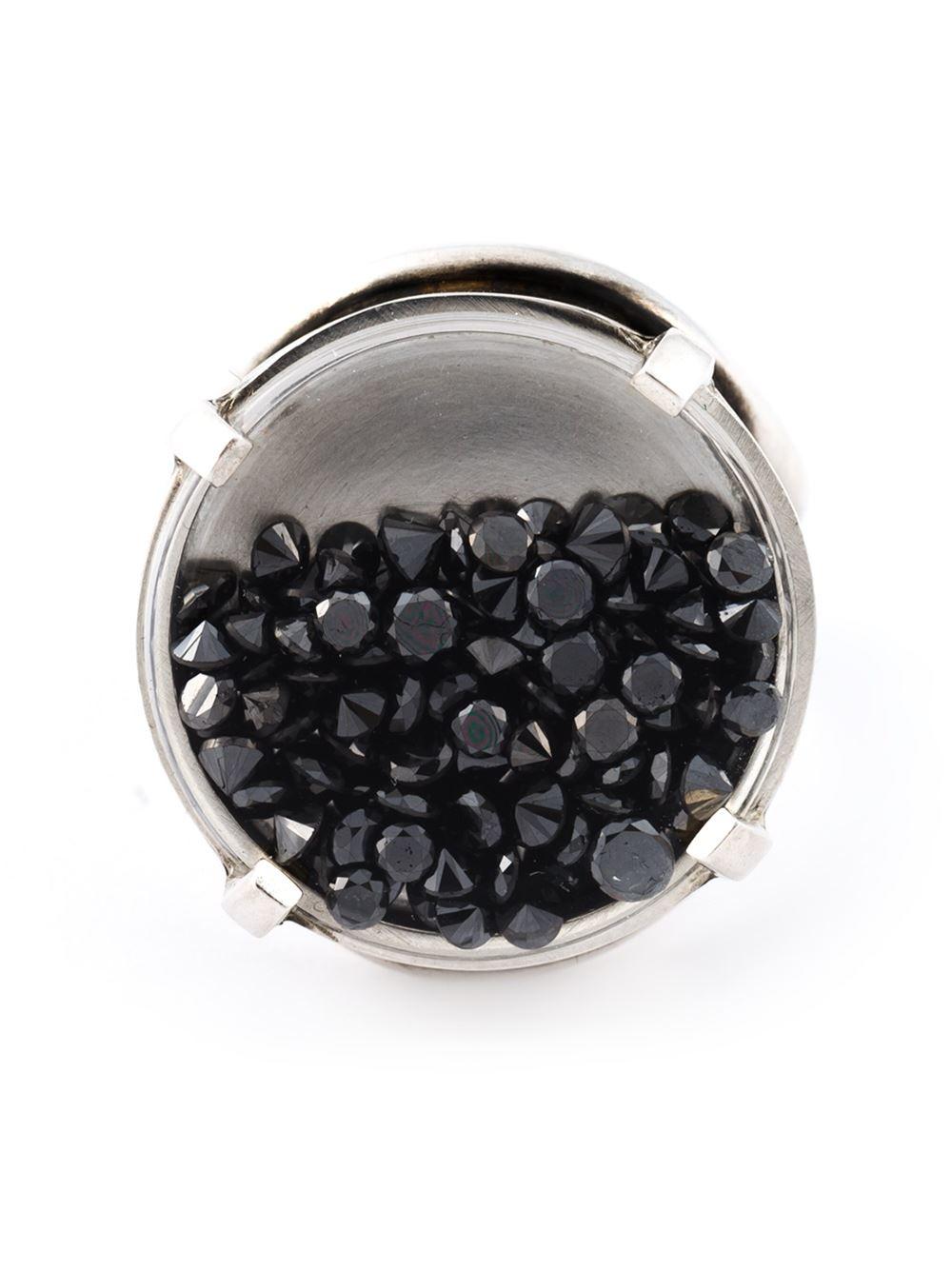 Ann Demeulemeester Diamond Medallion Ring In Black Lyst