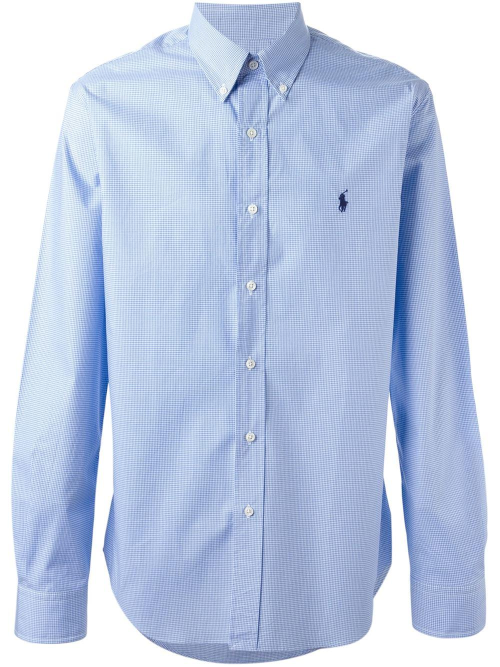 Lyst polo ralph lauren button down check shirt in blue for Polo ralph lauren casual button down shirts