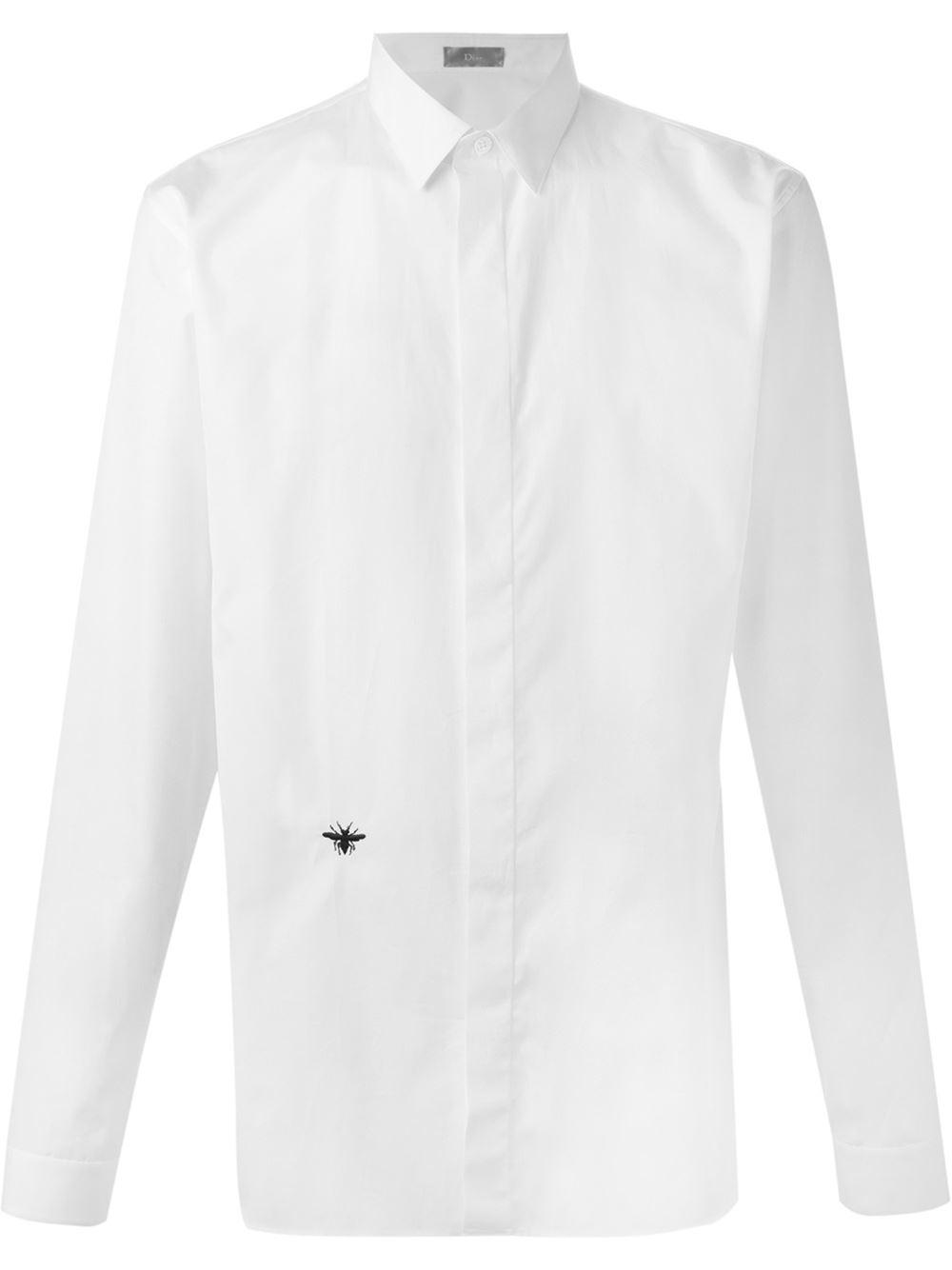 Dior homme bee embroidery shirt men cotton in