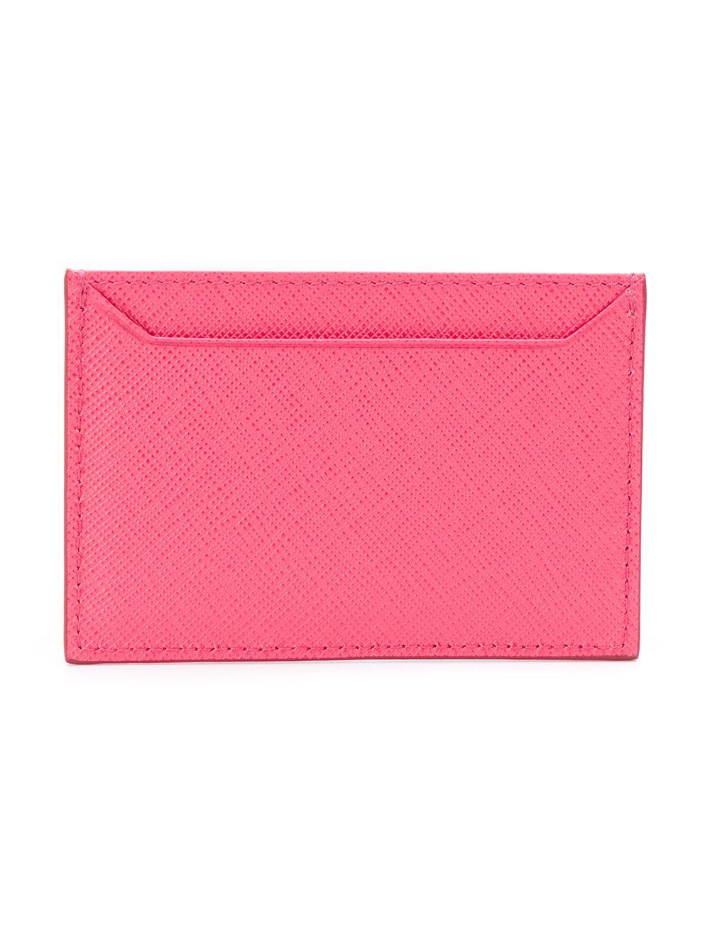 59d0552bb02b1e ... netherlands prada pink logo card holder lyst. view fullscreen 63081  582bb ...