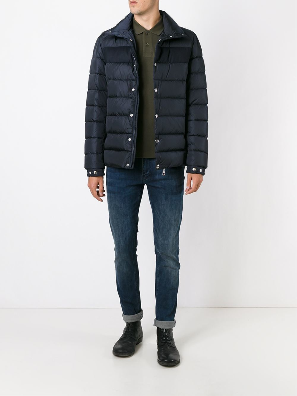 Moncler Synthetic 'breval' Padded Jacket in Blue for Men