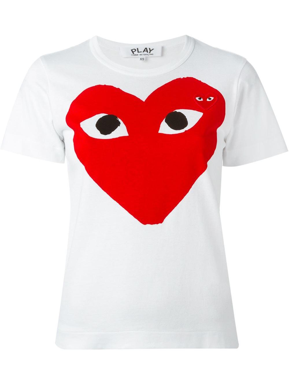 Play comme des garçons Heart Print T-shirt in Red | Lyst