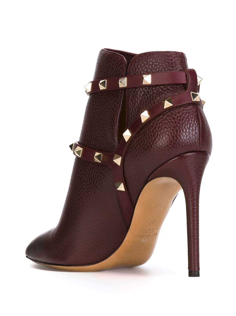 Valentino Leather Rockstud Ankle Boots In Red Brown Lyst