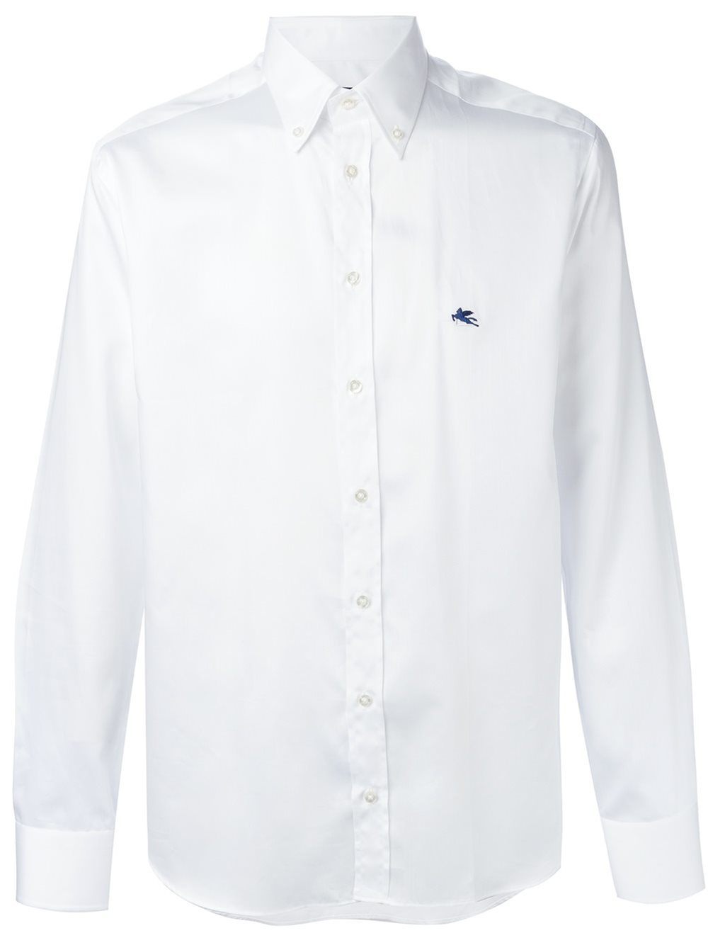 Lyst etro embroidered logo shirt men cotton 44 for Embroidered logos on shirts