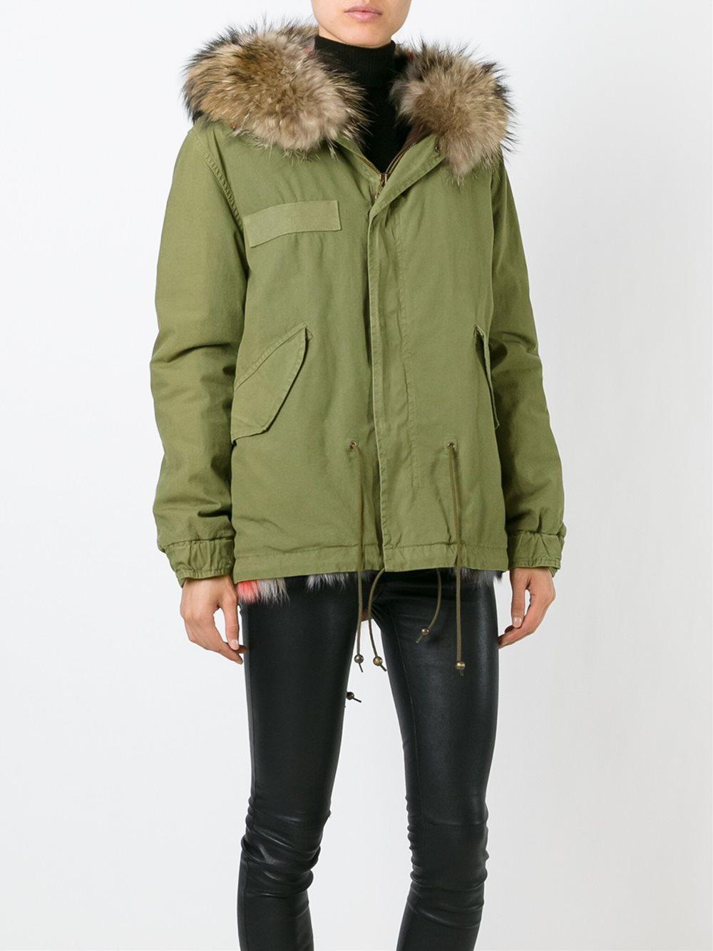 Mr Amp Mrs Italy Fox And Raccoon Fur Trim Parka In Green Lyst