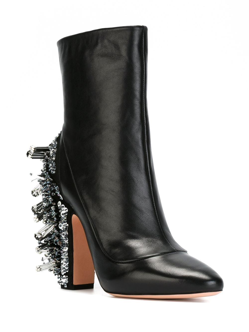 Rochas Leather Embellished Heel Boots in Black