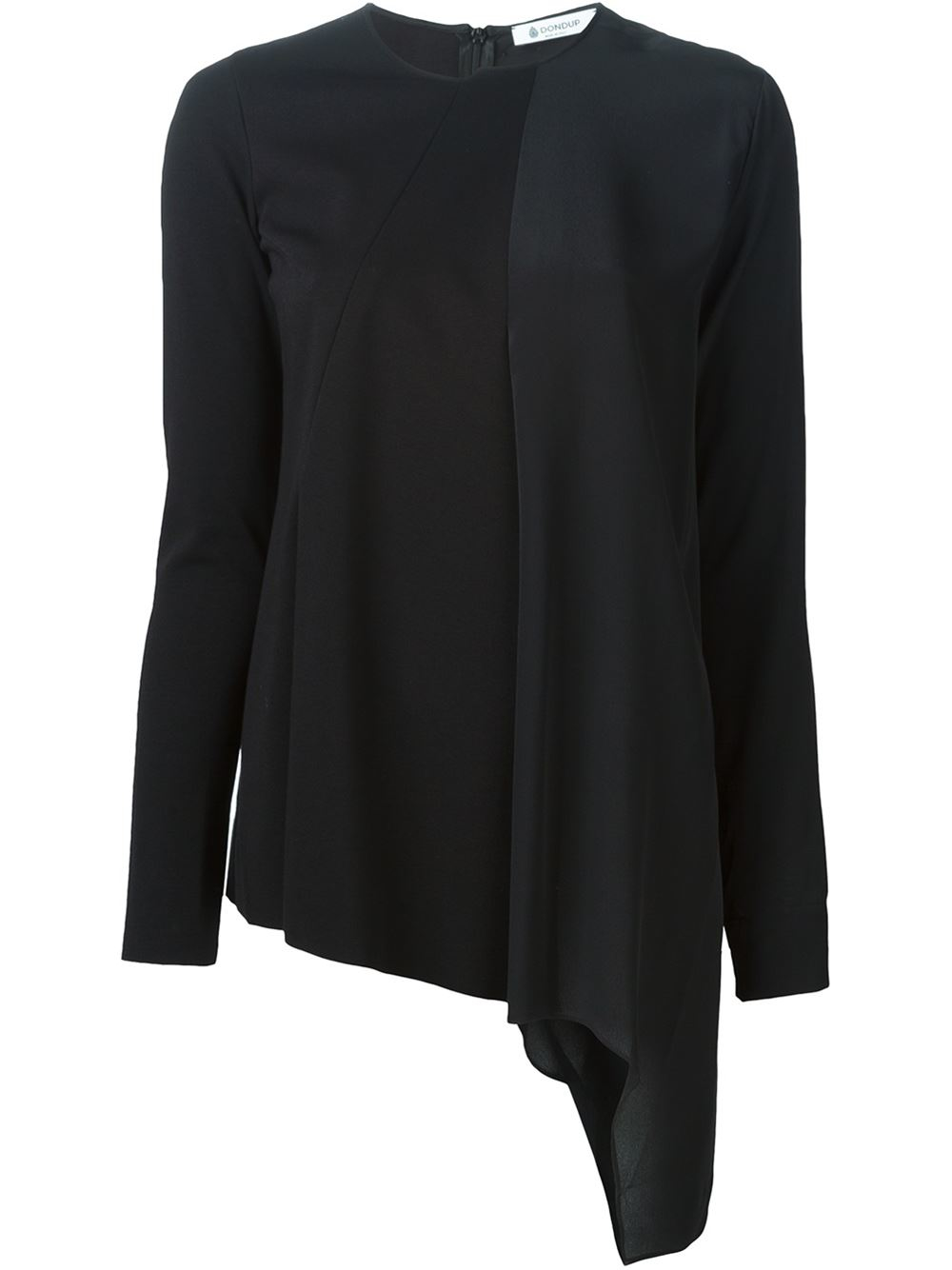Dondup asymmetric draped front t shirt in black lyst for Thrilla in manila shirt under armour
