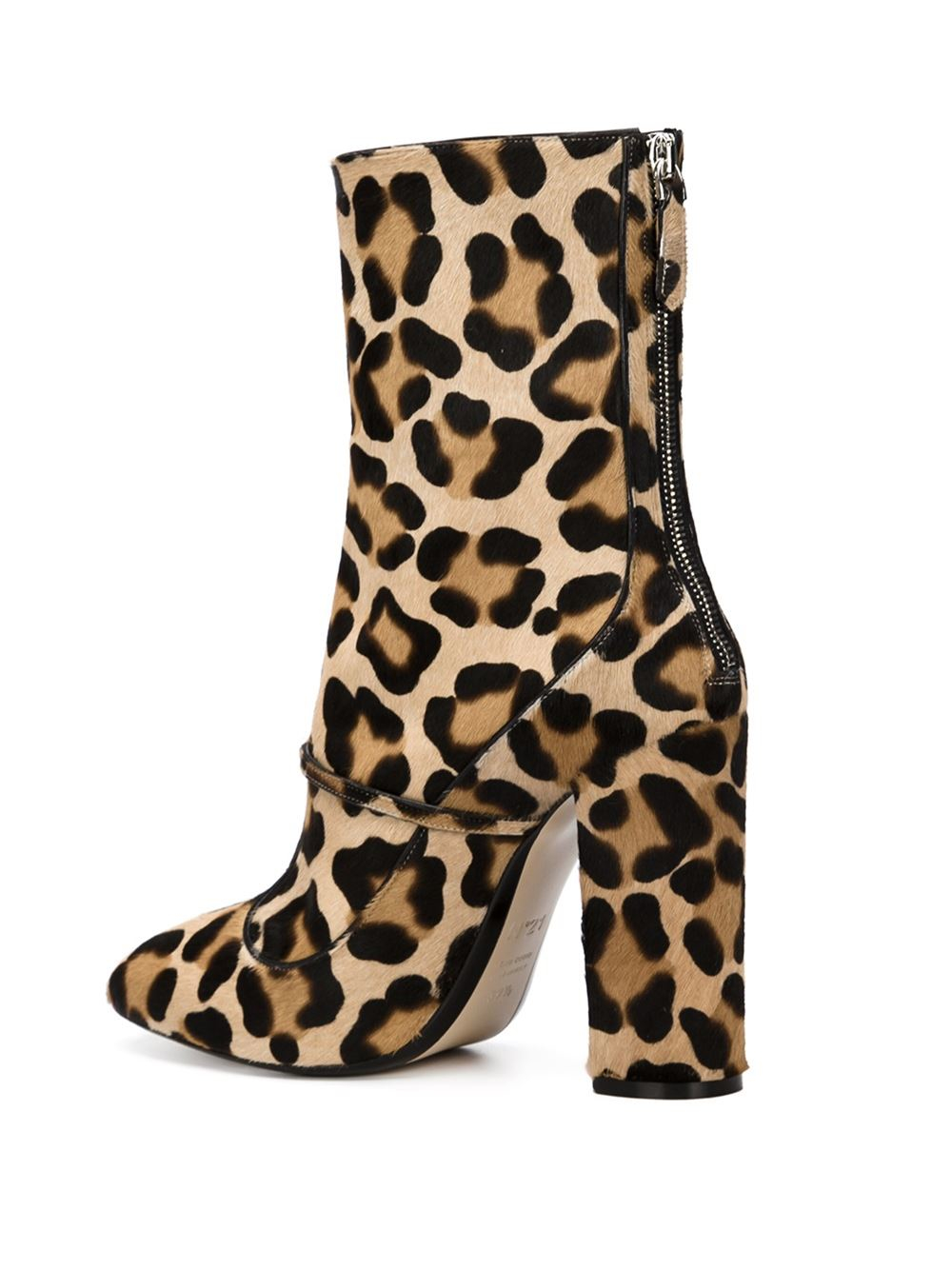N°21 Fur No21 Leopard Print Boots in Black