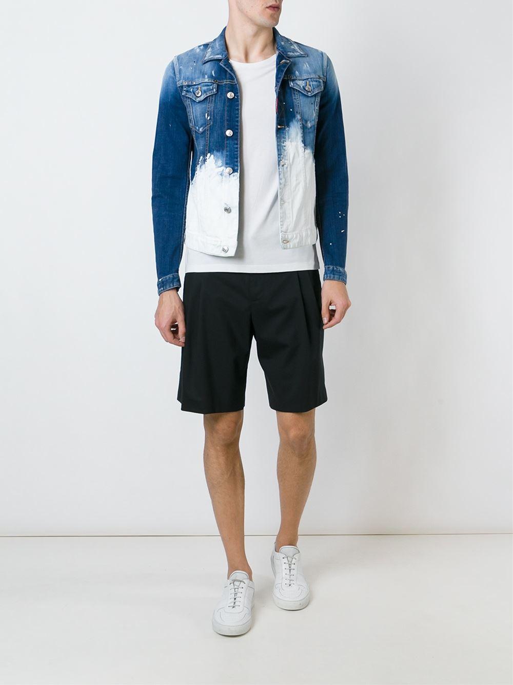 Dsquared 178 Paint Splatter Denim Jacket In Blue For Men Lyst
