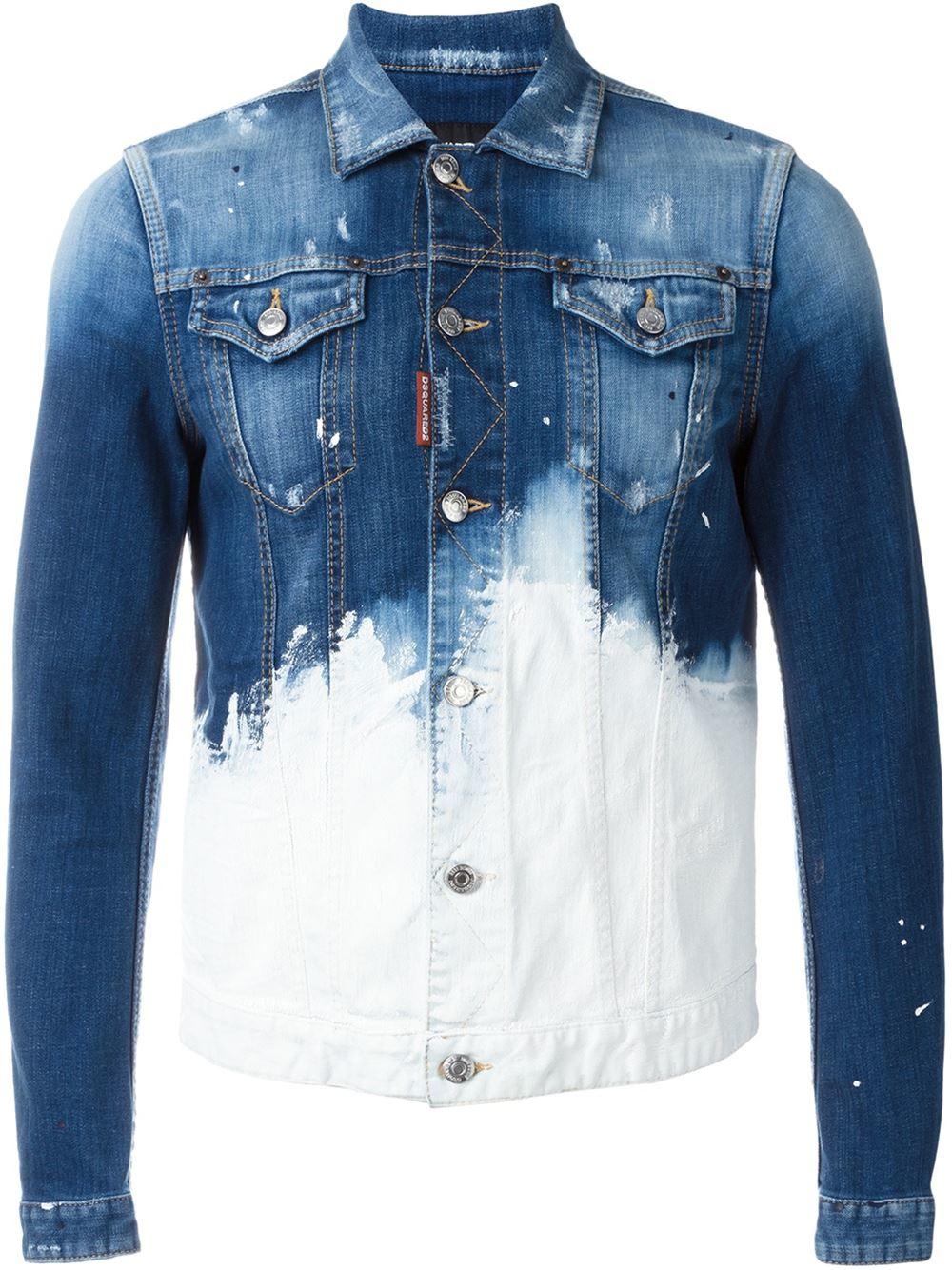 Dsquared² Paint Splatter Denim Jacket in Blue for Men