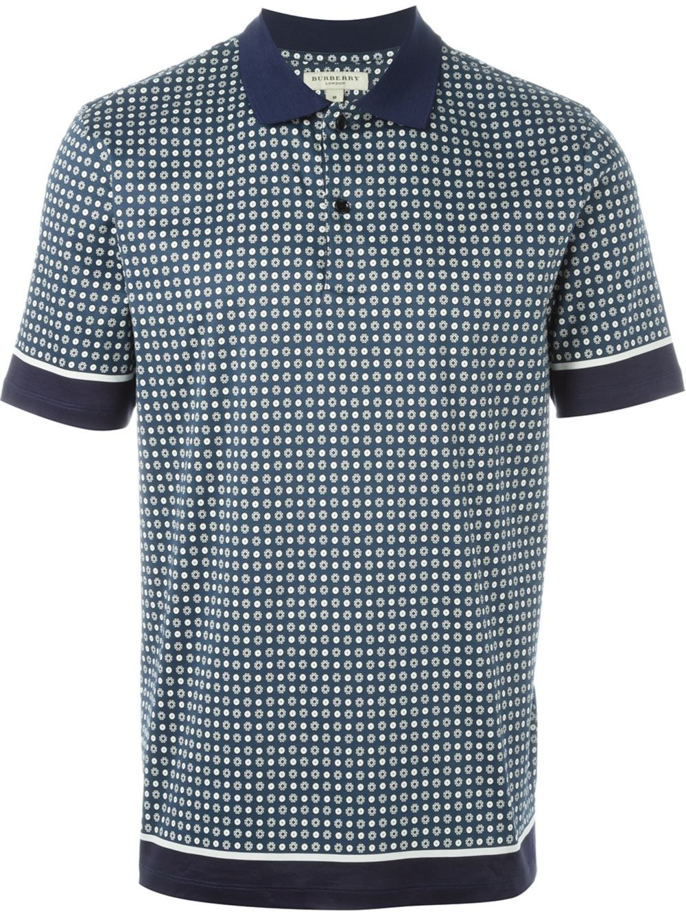 Burberry Cotton Printed Polo Shirt In Blue For Men Lyst