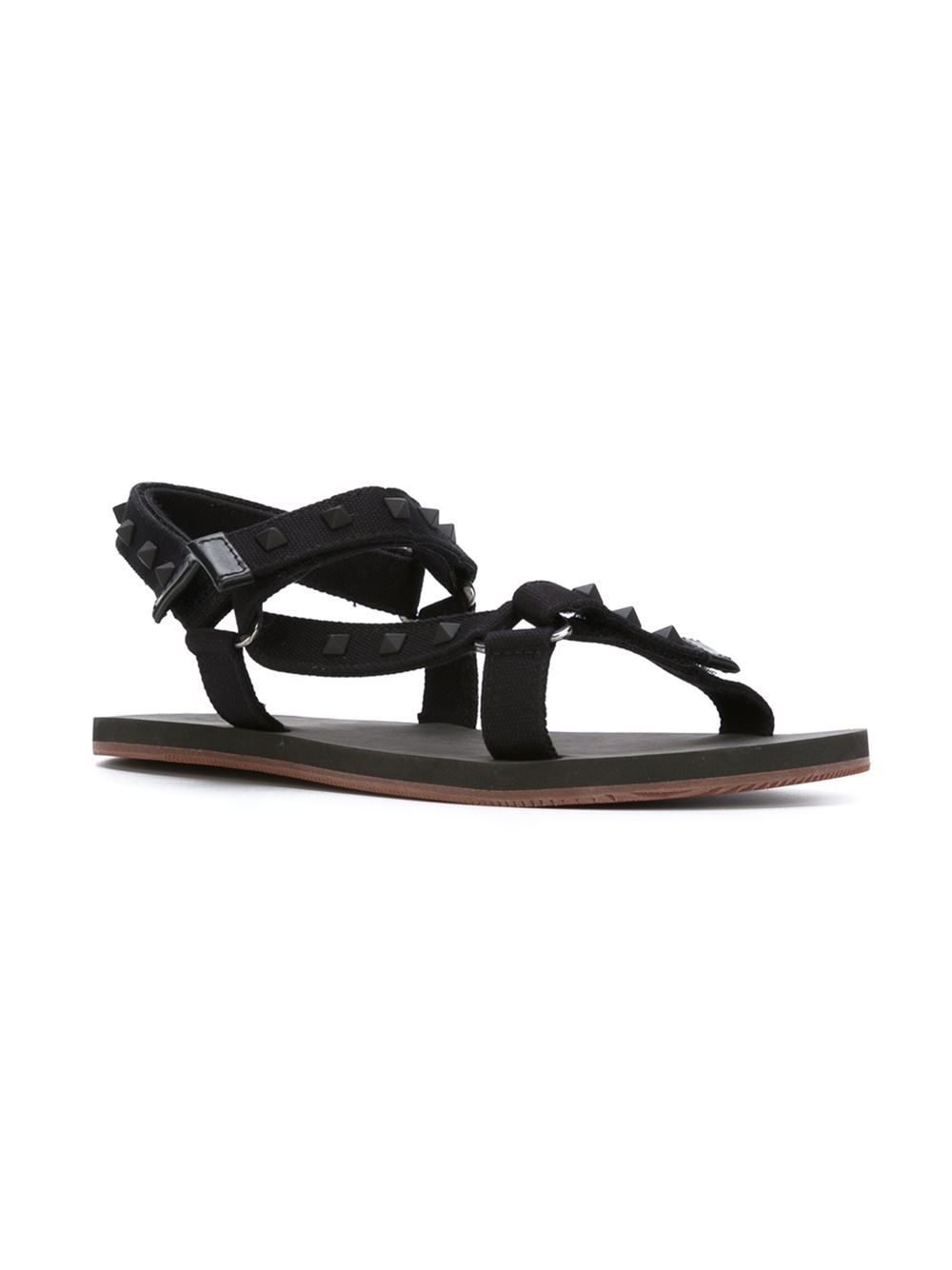 valentino rockstud sandals in black for lyst