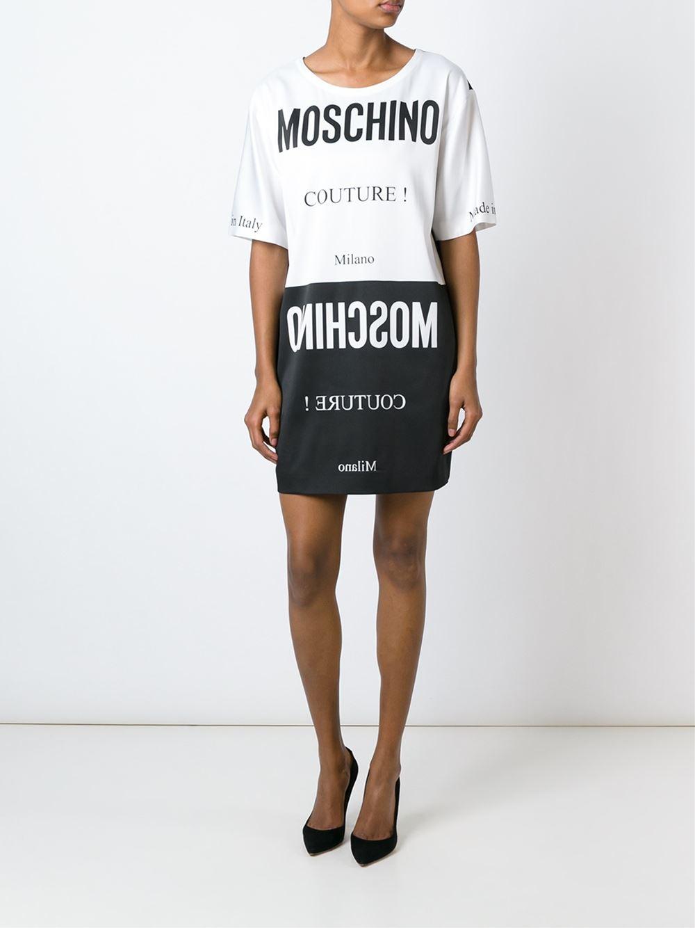 Lyst moschino logo print t shirt dress in black for Logo t shirt dress