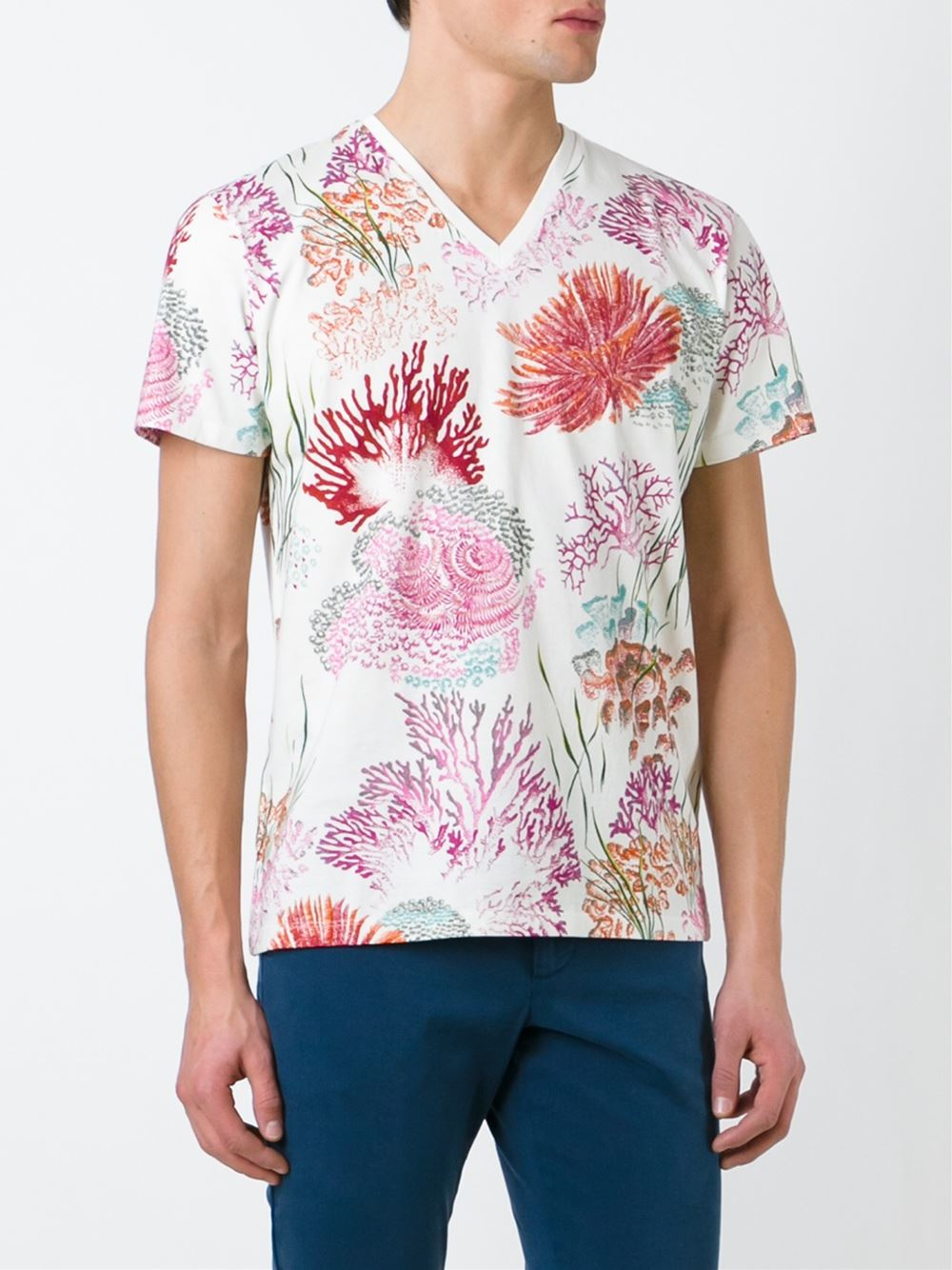 Etro coral print t shirt in white for men multicolour lyst for Coral shirts for guys