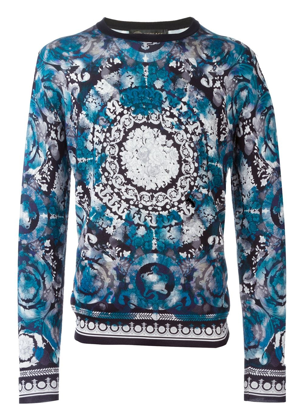 Versace Watercolour Baroque Print Jumper In Blue For Men