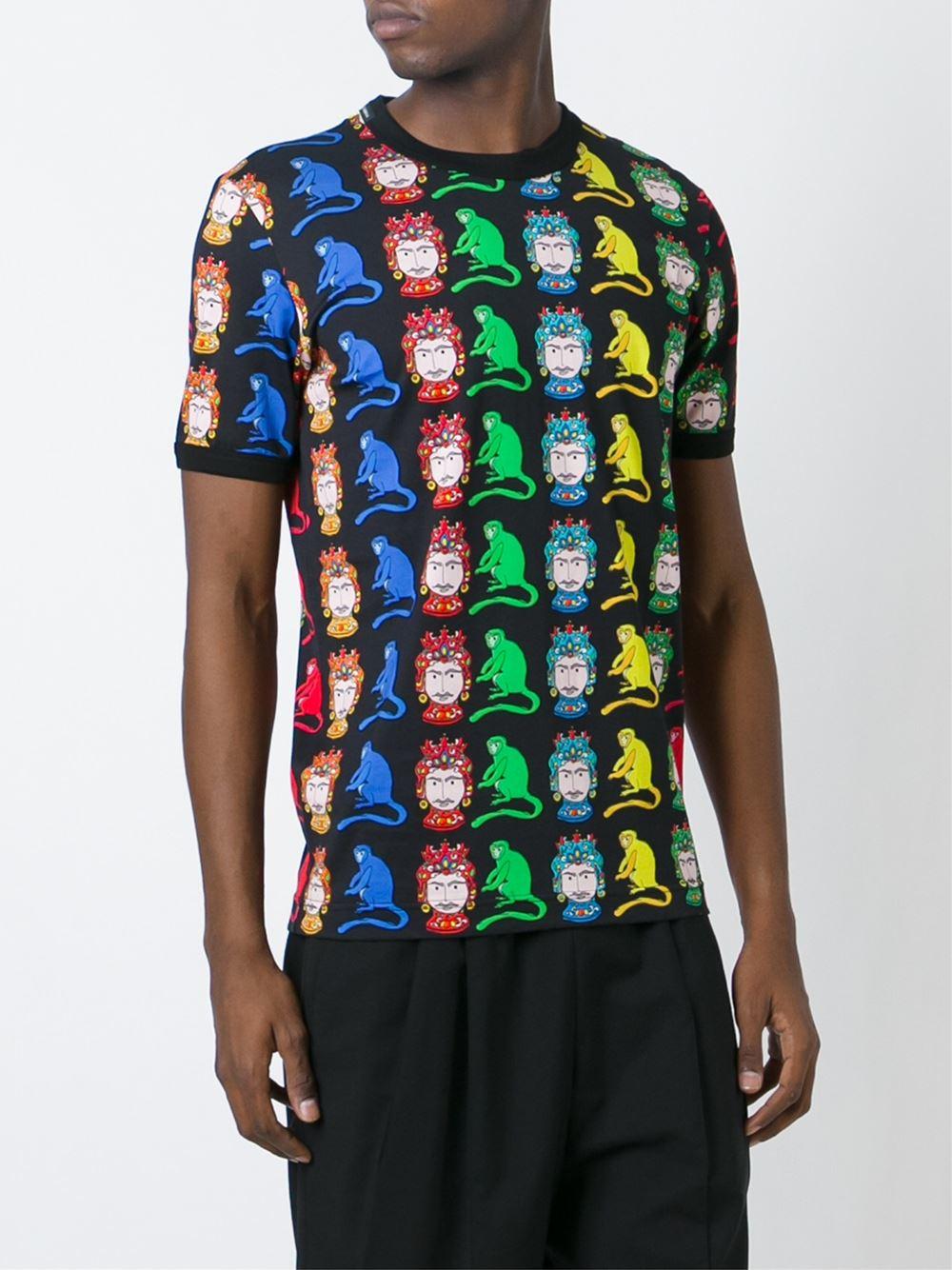 Dolce gabbana knight and monkey print t shirt in for Dolce and gabbana printed t shirts