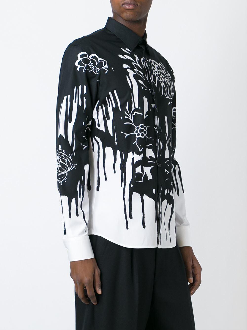 Alexander Mcqueen Floral Drip Print Shirt In Black For Men