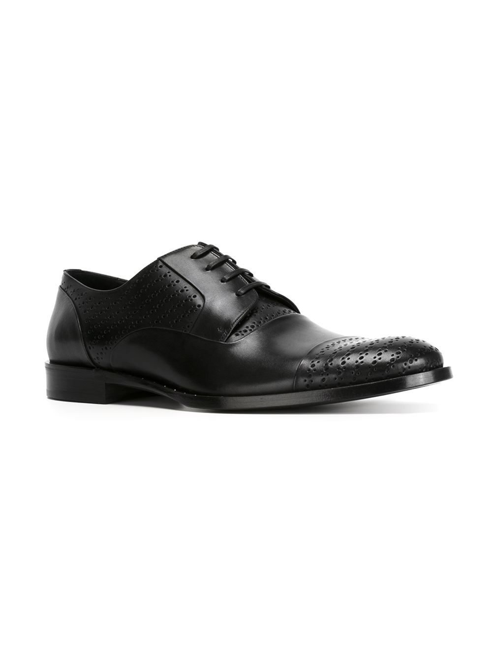 Dolce & Gabbana Leather Perforated Derby Shoes in Black for Men