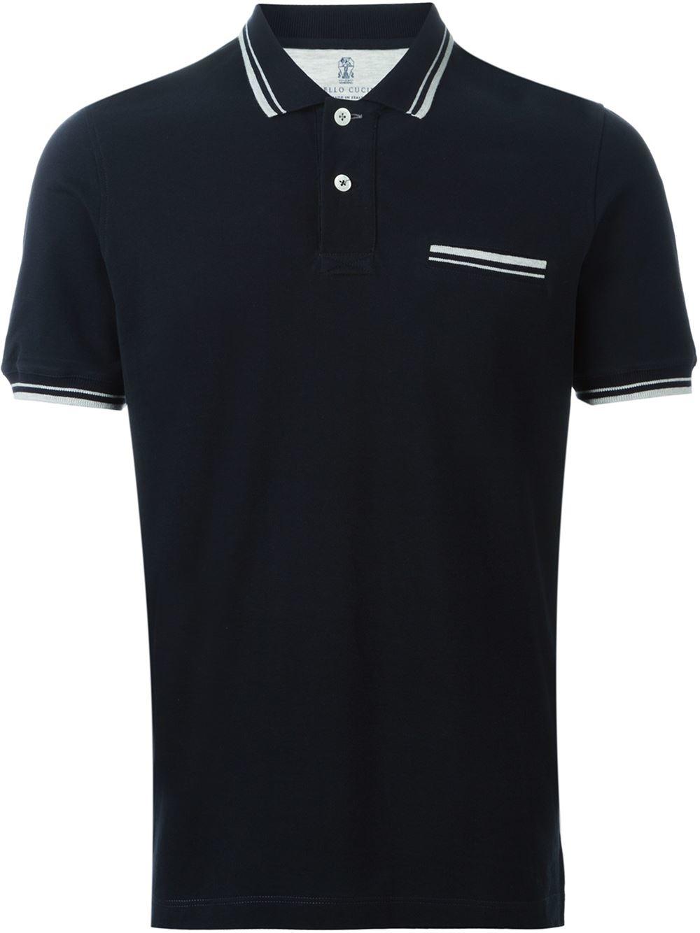Brunello cucinelli chest pocket polo shirt in blue for men for Men s polo shirts with chest pocket