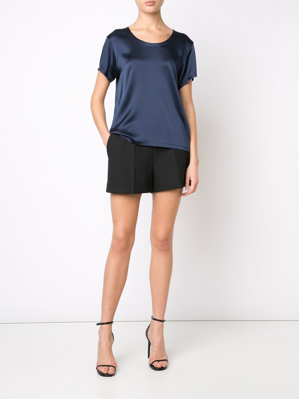 Adam lippes scoop neck t shirt in blue navy lyst for Adam lippes t shirt