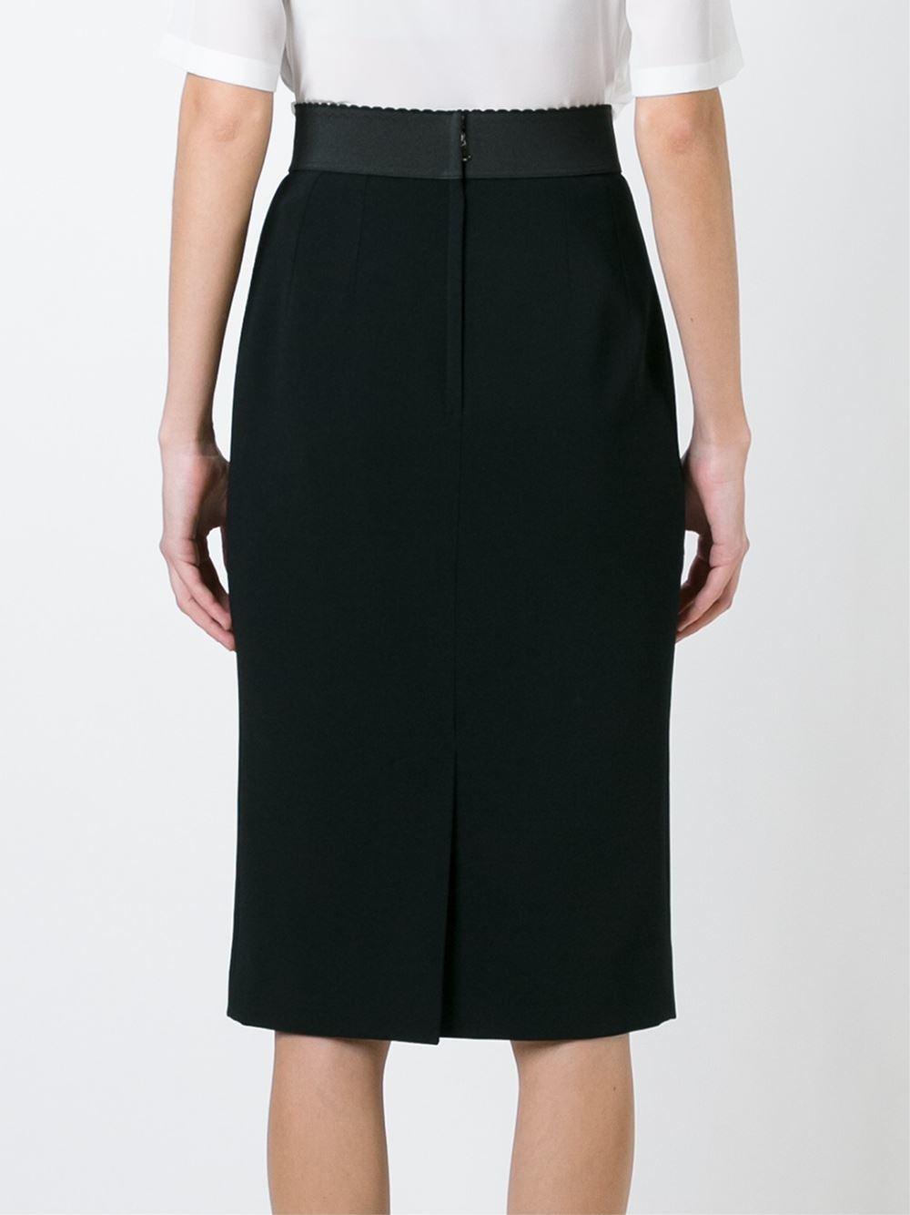 dolce gabbana classic pencil skirt in black lyst