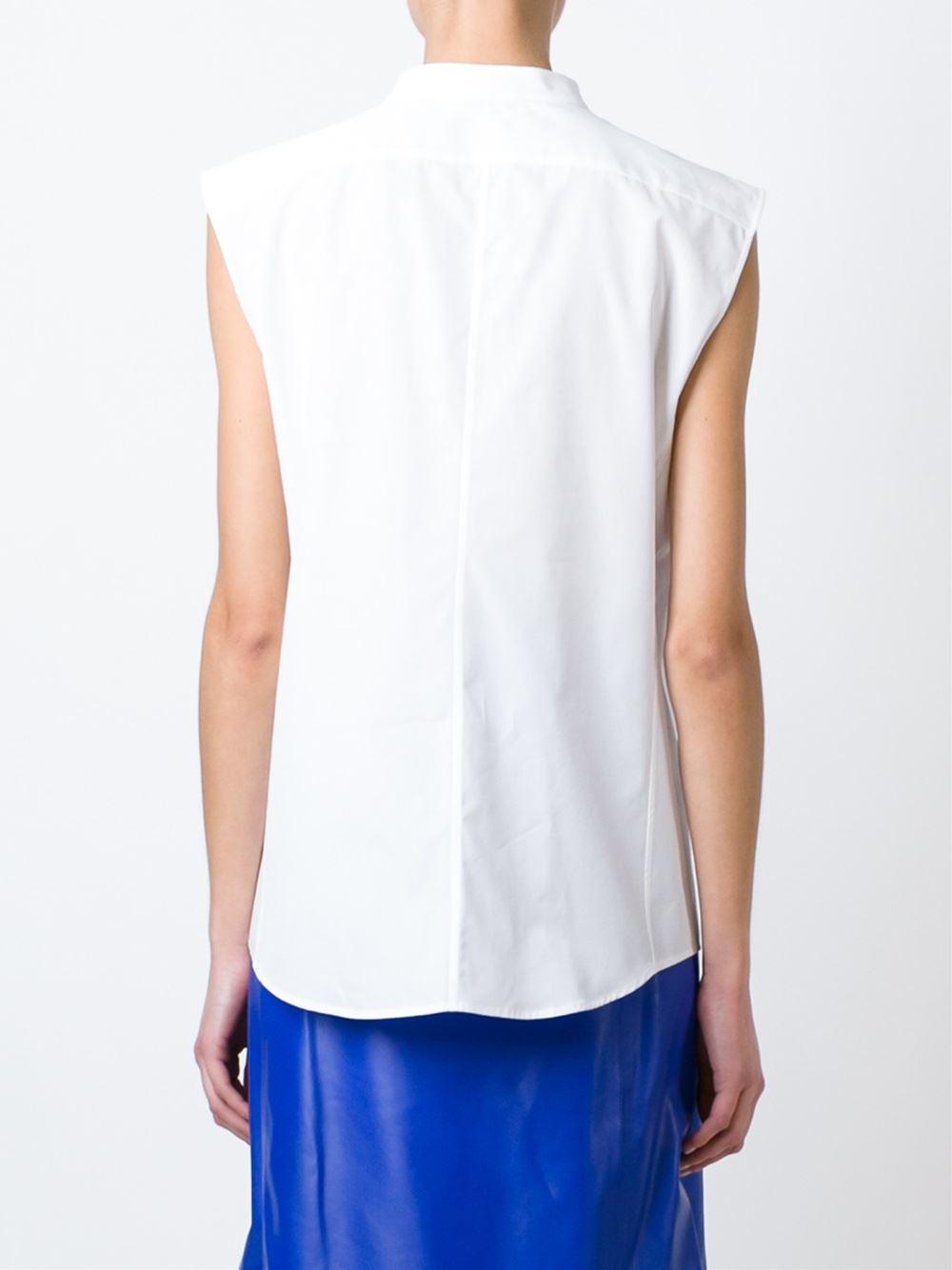 Jil sander sleeveless band collar shirt in white lyst for Sleeveless white shirt with collar