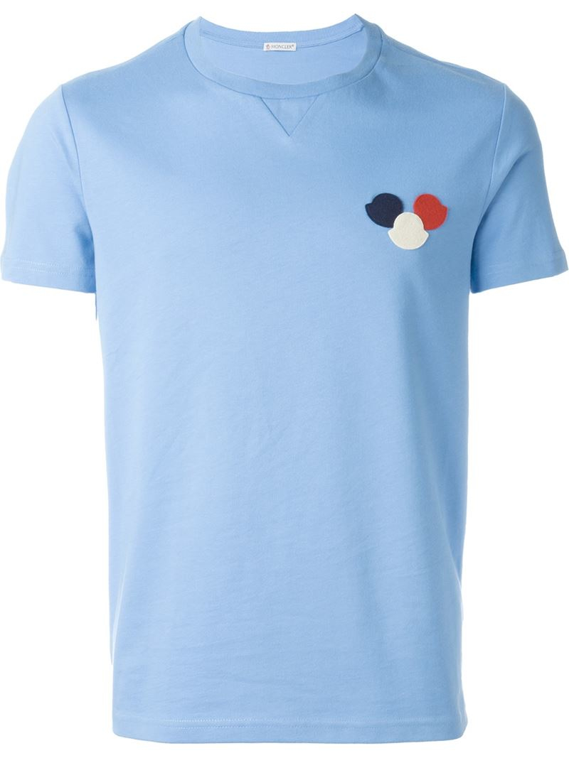 moncler logo t shirt in blue for men lyst. Black Bedroom Furniture Sets. Home Design Ideas
