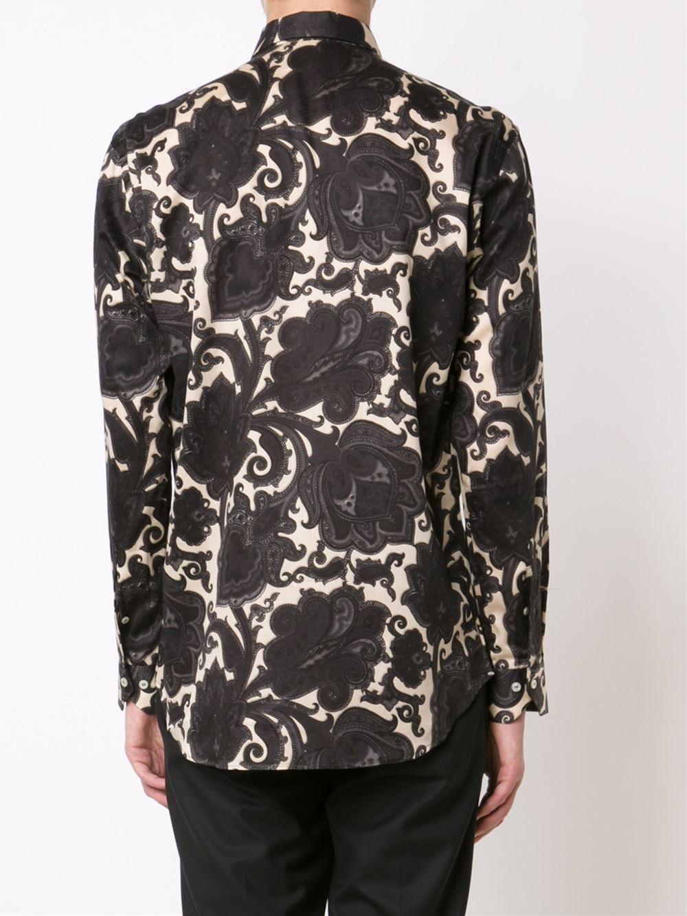 Etro paisley print shirt in black for men lyst for Etro men s shirts