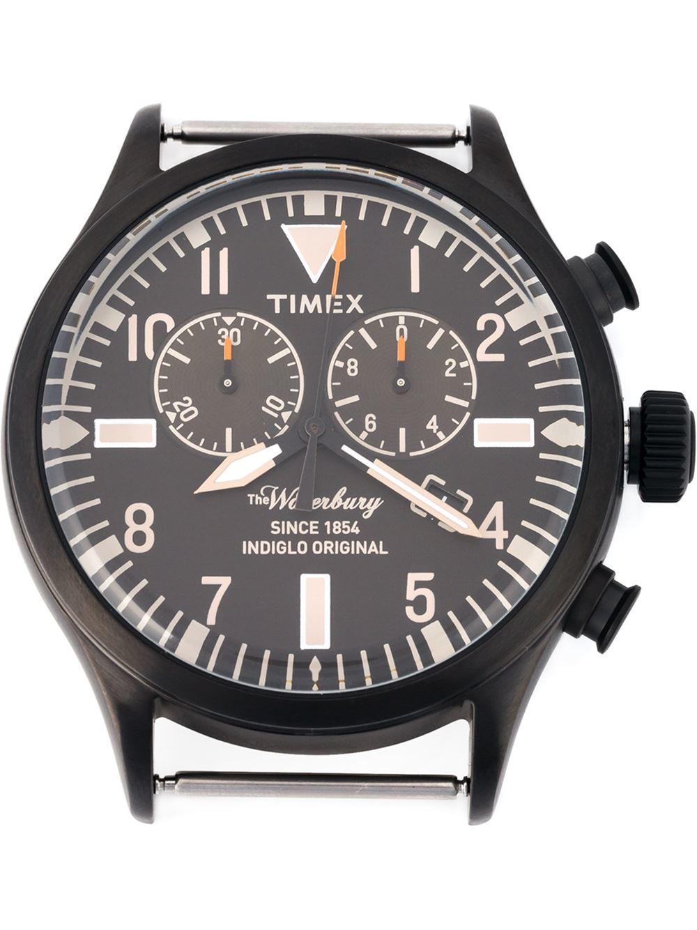 timex the waterbury watch in black for men lyst