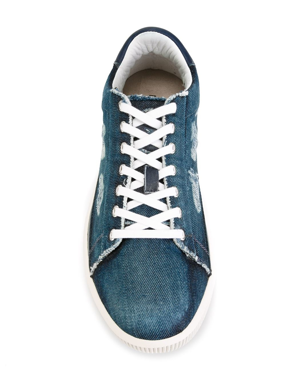 Diesel Distressed Denim Sneakers In Blue For Men Lyst